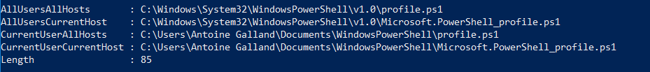 PowerShell Profiles path
