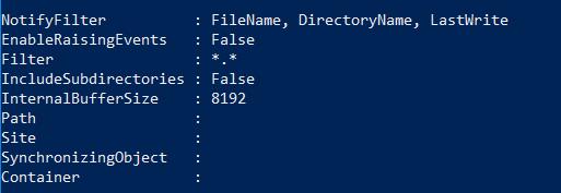 FileSystemWatcher object properties