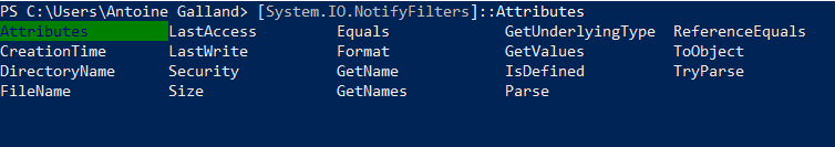 NotifyFilter accepted values