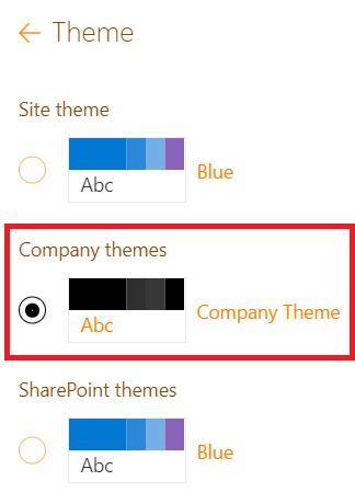Company theme selection