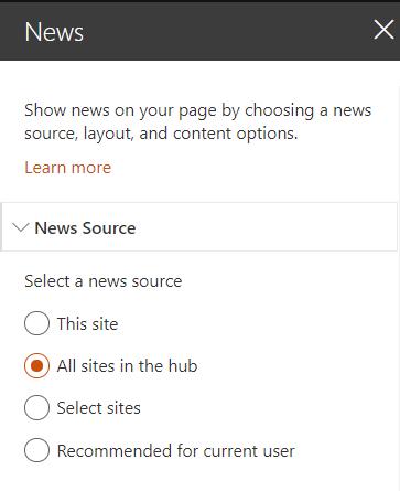HubSite Cross site content