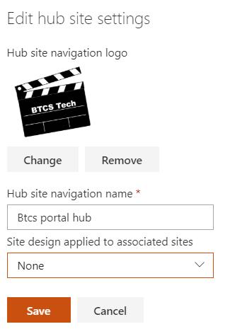 HubSite settings