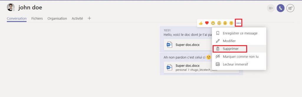 Supprimer un document dans une conversation Teams