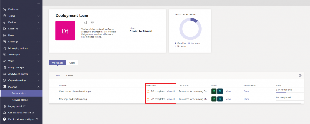 Microsoft Teams advisor assessment