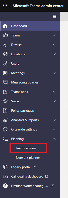Microsoft Teams advisor menu
