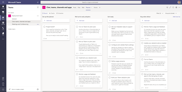 Planner tab for Microsoft Teams advisor