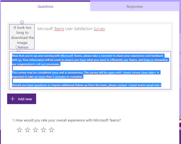 Satisfaction survey in Microsoft Teams advisor