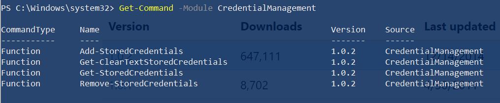 CredentialManagement module cmdLets