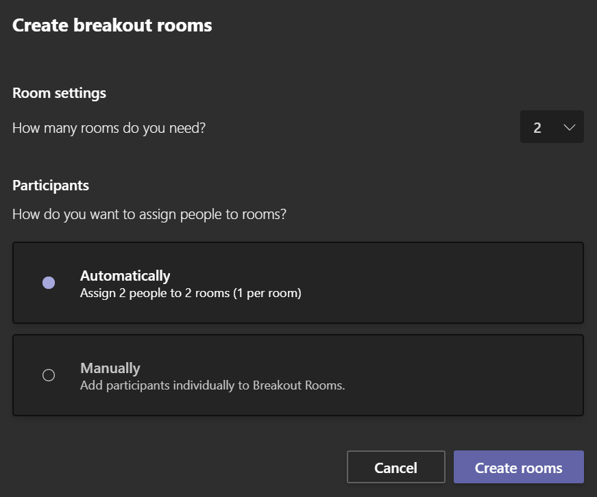 Breakout rooms microsoft Teams auto assignment method