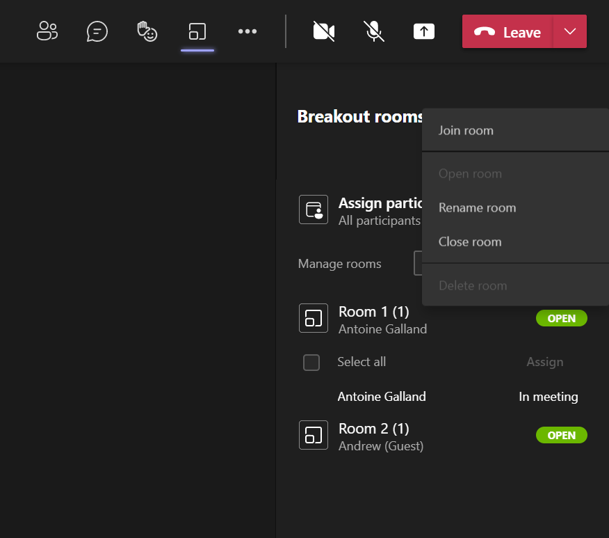 Microsoft Teams breakout rooms navigation between rooms