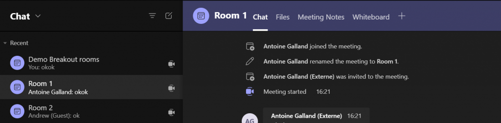 Microsoft Teams breakout rooms chat tools