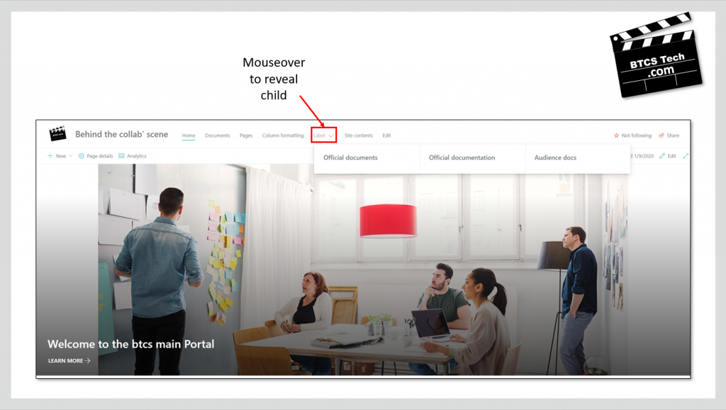 SharePoint Communication site navigation