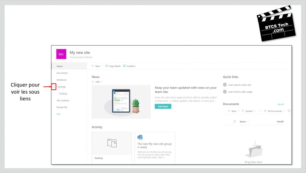 Navigation des Site d'équipe SharePoint